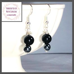Sterling Silver Earrings Sexy Black Onyx Hematite